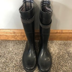 Black Burberry Rain Boots